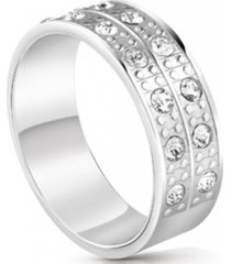 anillo rows crystals plateado guess jewellery