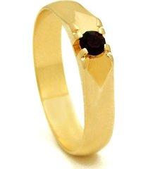 anel horus import ponto de rubi com banho em ouro amarelo