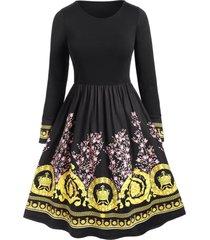 plus size floral tribal print a line dress
