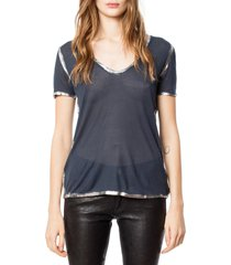 women's zadig & voltaire 'tino' foil accent tee, size medium - blue