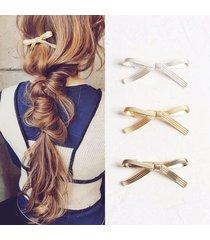 fermagli per capelli in argento dolce in lega di bowknot, accessori per capelli per donna