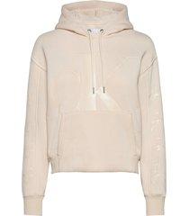 ck eco hoodie hoodie trui crème calvin klein jeans