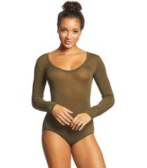 free people women's bodysuit easy peasy - moss - x-small cotton