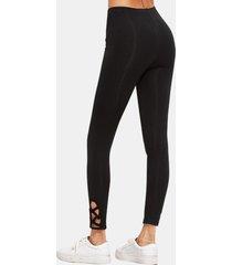 leggings negros de yoga de cintura alta con corte activo