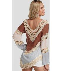 blusa de playa de diseño hueco con cuello en v y bloque de color