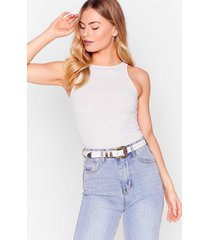 womens western woven hatch belt - white