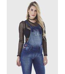 macacão hno jeans jardineira skinny feminino - feminino