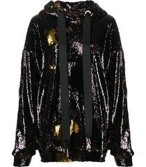 marques'almeida sequin embellished hoodie - black