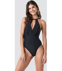 trendyol double breasted collar swimsuit - black