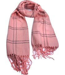 cachecol smm acessórios xadrez listrado rosa