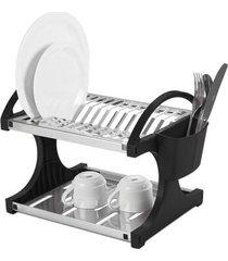 escorredor de pratos brinox em inox com porta-talheres preto