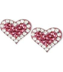 betsey johnson silver-tone heart pink crystal stud earrings