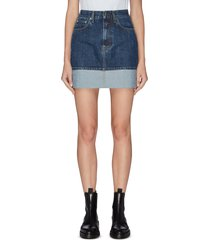 roll up hem denim mini skirt