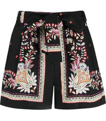 twinset high-rise paisley-print shorts - black