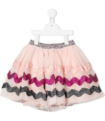 billieblush layered bead-embellished skirt - pink