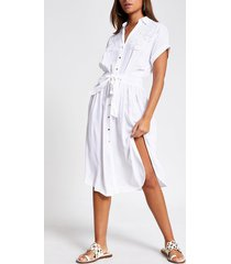 river island womens white embroidered midi shirt beach dress