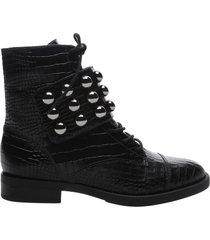 marieta crocodile-embossed leather bootie - 10 black croco leather