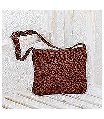 crocheted shoulder bag, 'margarita texture in redwood' (guatemala)