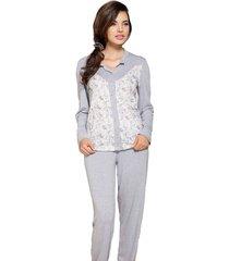 pijama aberto vincullus inverno cinza - tricae