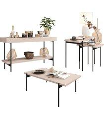 conjunto aparador mesa de centro e mesas laterais estilo industrial mezzan h01 off white - mpozenato - unico - dafiti