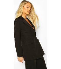 cut away button mix & match tailored blazer, black