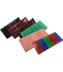 genuine eel skin checkbook basic plain cover case wallet personal check holder
