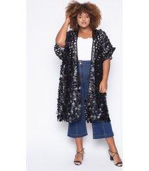 kimono almaria plus size alt brand circle preta - preto - feminino - poliã©ster - dafiti