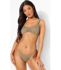 mix & match gekreukelde geknoopte bikini top met bandjes, light khaki