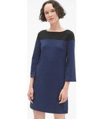 vestido manga larga colorblock mujer azul gap