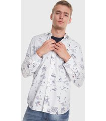 camisa desigual estampada blanco - calce slim fit