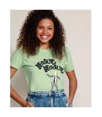 t-shirt feminina mindset beetlejuice manga curta decote redondo verde