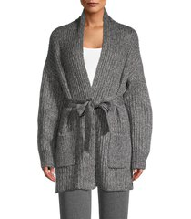 lea & viola women's ribbed belted cardigan - charcoal - size s