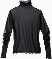 shirt met lange mouwen uit biologische zijde, zwart 44/46
