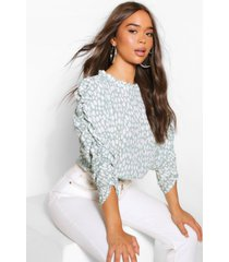 woven printed ruched sleeve blouse, sage
