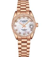 stuhrling women's rose gold stainless steel bracelet watch 31mm