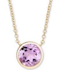 """amethyst bezel 18"""" pendant necklace (1-3/4 ct. t.w.) in gold-plated sterling silver"""