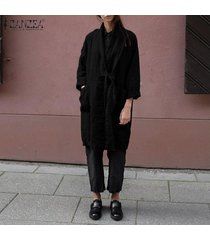 zanzea mujeres spring cardigan kimono tie up loose plus size tunic coat hot -negro