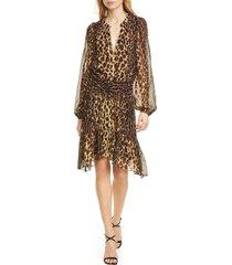 women's a.l.c. sidney leopard print long sleeve silk dress