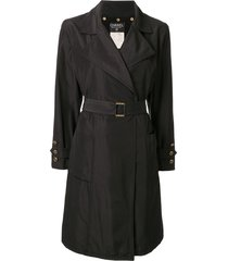 chanel pre-owned silk belted a-line coat - black