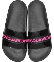 dsquared2 designer shoes, black and neon pink tape women's flip flop pool sandals