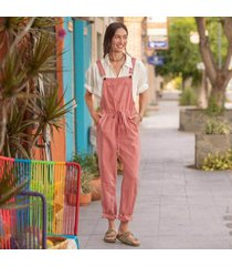 sundance catalog women's artist's paradise overalls - petites in vntg rose petite large