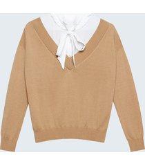 motivi maglia bimaterica con finta camicia donna beige