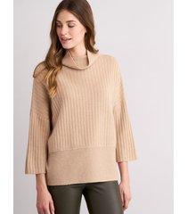 grofgebreide trui met opstaande kraag