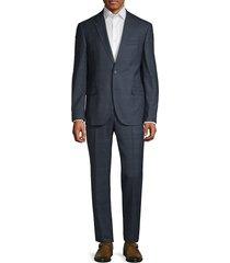 karl lagerfeld men's slim-fit wool-blend plaid suit - navy - size 40 r