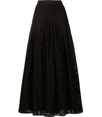 alberta ferretti broderie long skirt - black