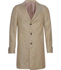 7415 - retro coat dunne lange jas beige sand