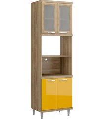 módulo para forno e micro-ondas 4 pts sicília vidro argila e amarelo-gema multimóveis