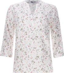 blusa con pechera floral color blanco, talla l