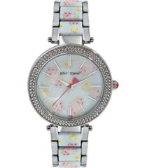 betsey johnson women's floral dial silver-tone and floral printed link bracelet watch 45mm