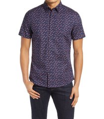 men's nordstrom trim fit non-iron floral dot short sleeve button-up shirt, size small - blue